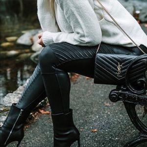 Spanx Faux Leather Moto Black Leggings Sz:M